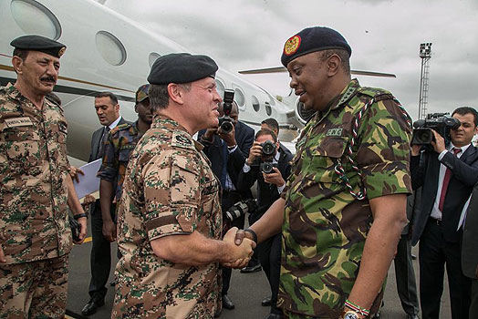 Uhuru in full military fatigues as he welcomes Jordanian king –PHOTOS