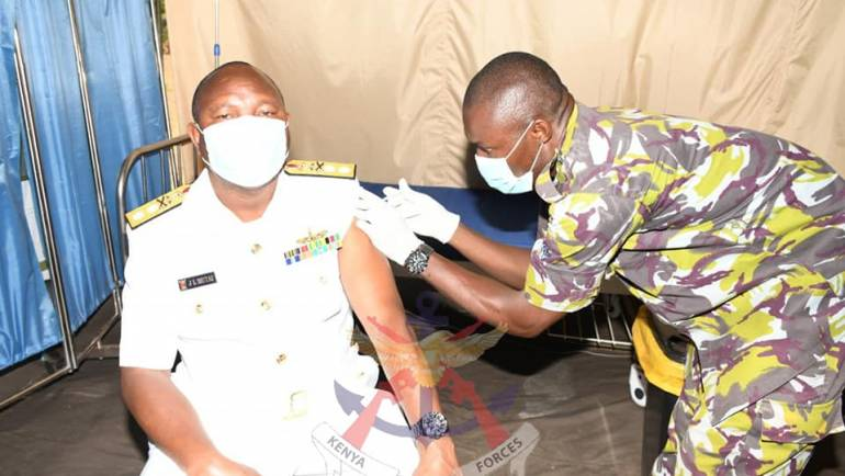 COMMANDER KENYA NAVY LEADS THE KENYA NAVY IN THE  COVID-19 VACCINATION