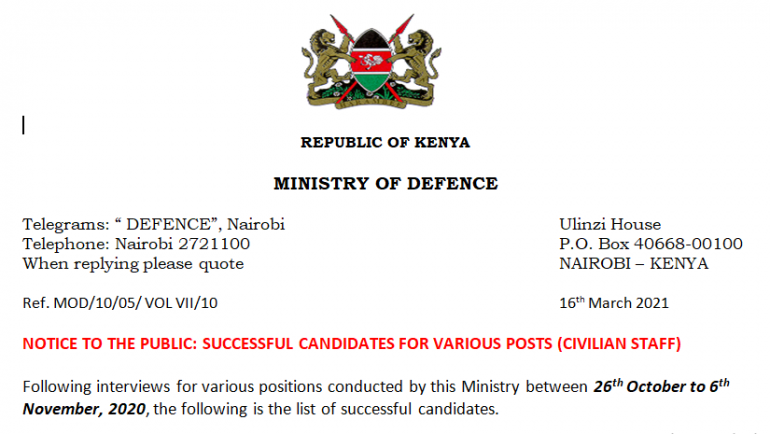 NOTICE TO THE PUBLIC: SUCCESSFUL CANDIDATES FOR VARIOUS POSTS (CIVILIAN STAFF)