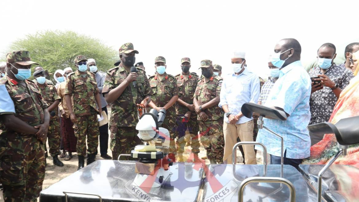 COMMANDER KENYA ARMY HANDS OVER MEDICAL EQUIPMENT AND PHARMACEUTICAL SUPPLIES AT IJARA HEALTH CENTRE
