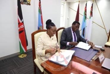 CS MONICA JUMA HANDS OVER OFFICE REIGNS TO INCOMING DEFENCE CS EUGENE WAMALWA