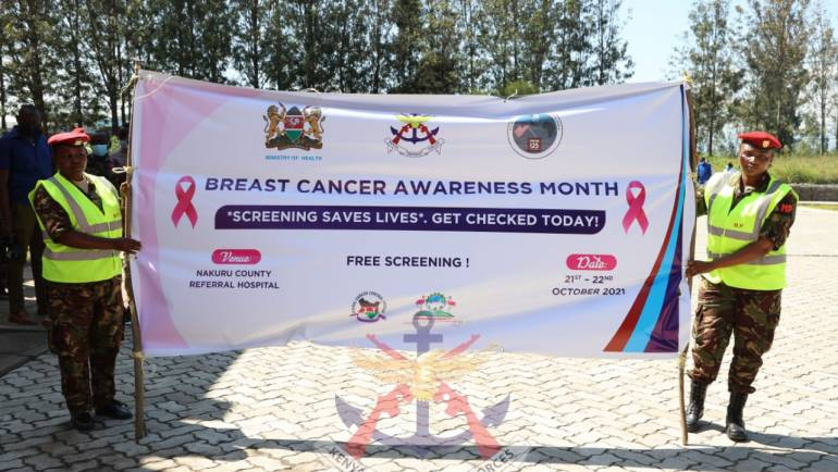 KENYA DEFENCE  FORCES COLLABORATES WITH MINISTRY OF HEALTH IN A BREAST CANCER AWARENESS CAMPAIGN