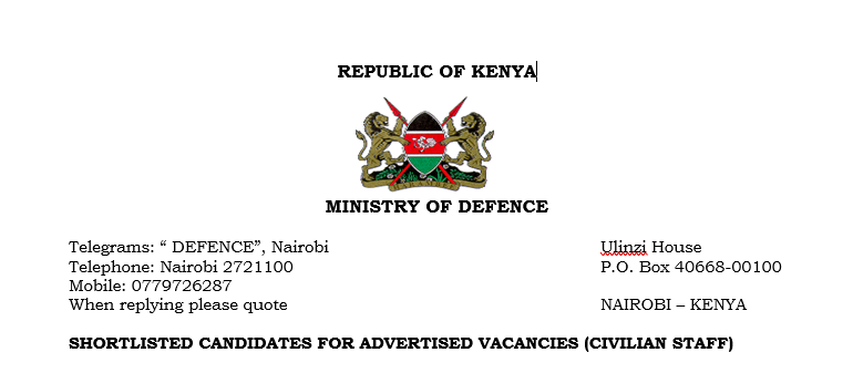 SHORTLISTED CANDIDATES FOR ADVERTISED VACANCIES (CIVILIAN STAFF)